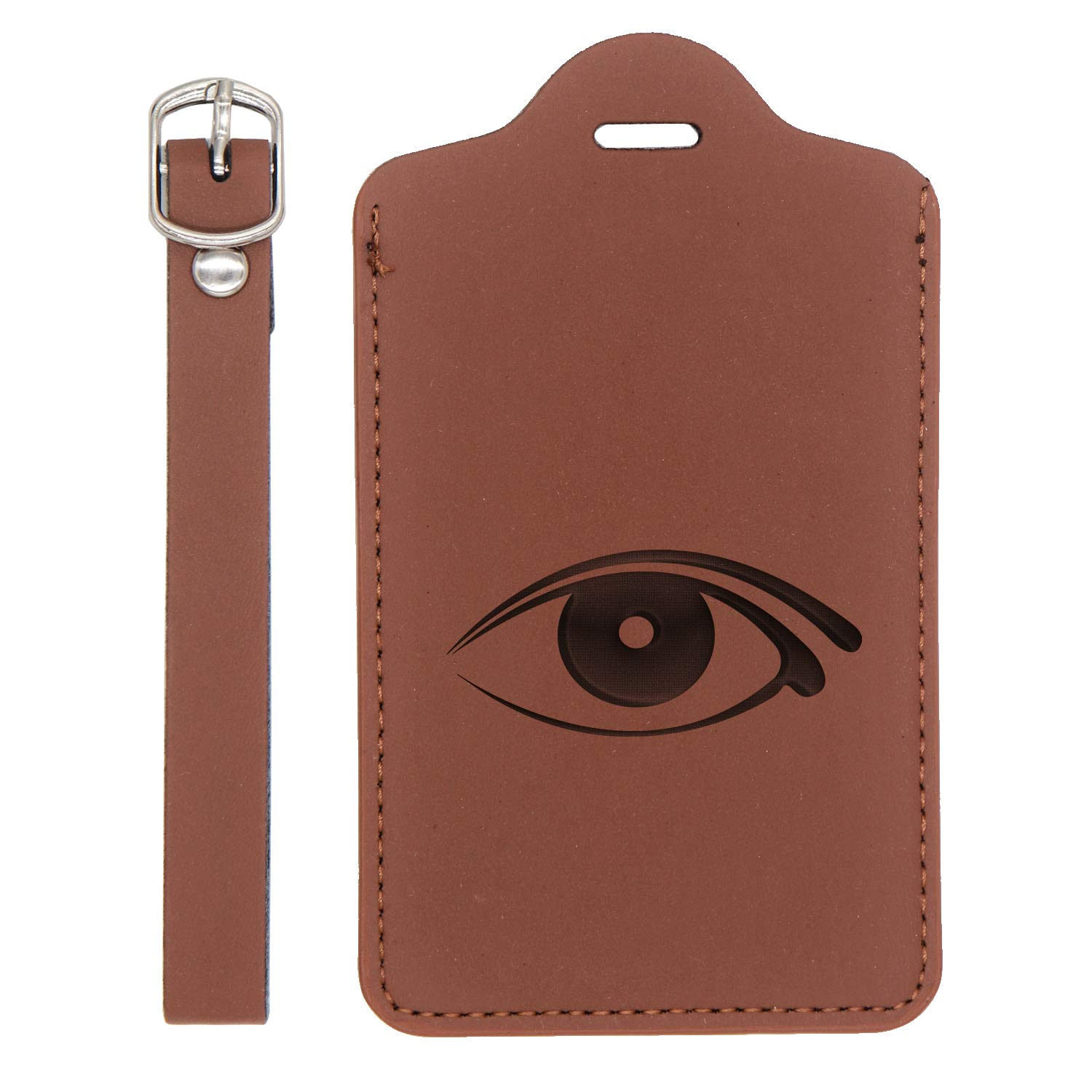 - United States Standard London Tan - Set Of 2 Eyes Silhouettes 2 Engraved Synthetic Pu Leather Luggage Tag Handcrafted By Mastercraftsmen For Any Type Of Luggage