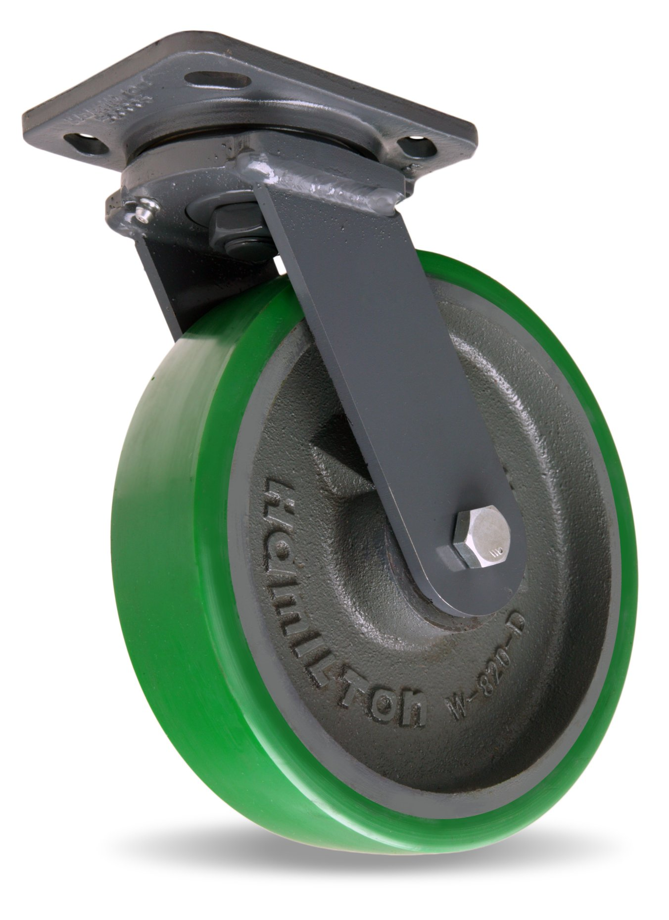Hamilton Workhorse Plate Caster, Swivel, Duralast Polyurethane Wheel, Precision Ball Bearing, 1500 lbs Capacity, 8'' Wheel Dia, 2'' Wheel Width, 5-5/8'' Mount Height, 5'' Plate Length, 4'' Plate Width