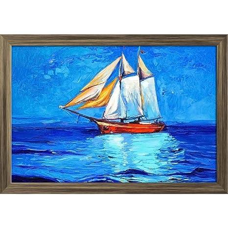 Artzfolio Artwork Of Sail Ship Sea 4 Poster Antique Golden Frame