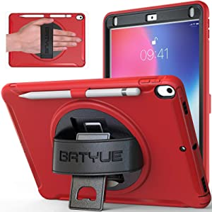 BATYUE iPad Air 3 Case, iPad Pro 10.5 Case with Pencil Holder [Pencil not Included] 3 Layer PC+TPU Hybrid Heavy Duty Shockproof Rugged Kids Friendly Protective Case for iPad Air 10.5 Case 2019 (Red)
