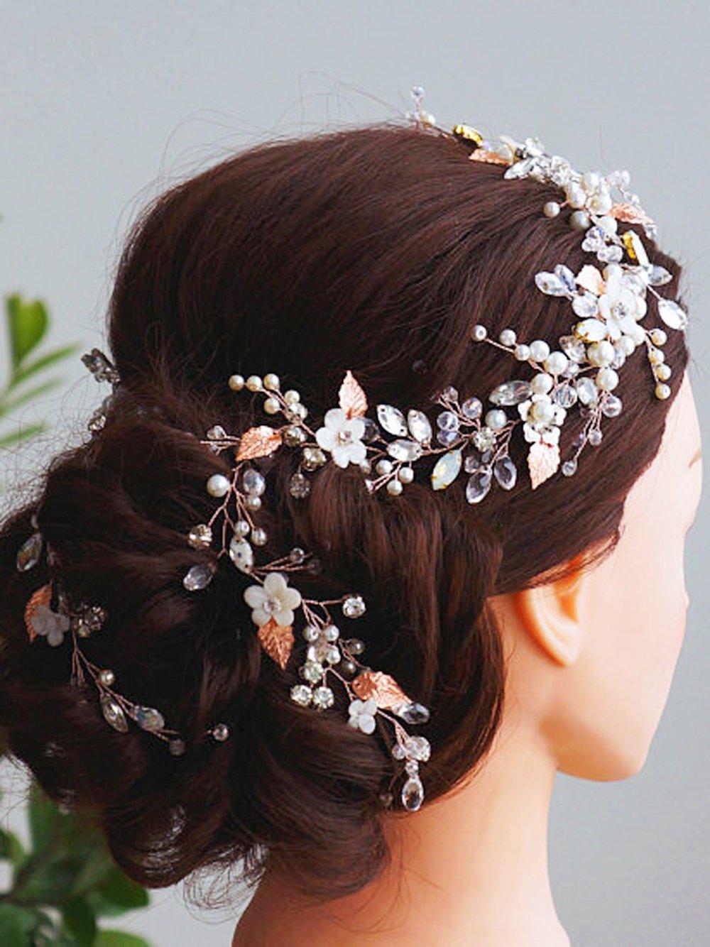 Fxmimior mariée Or rose Accessoires Cheveux Cristal Bandeau Cheveux longs Vine Diadem Soirée personnalisée Couronne Mariage Coiffe