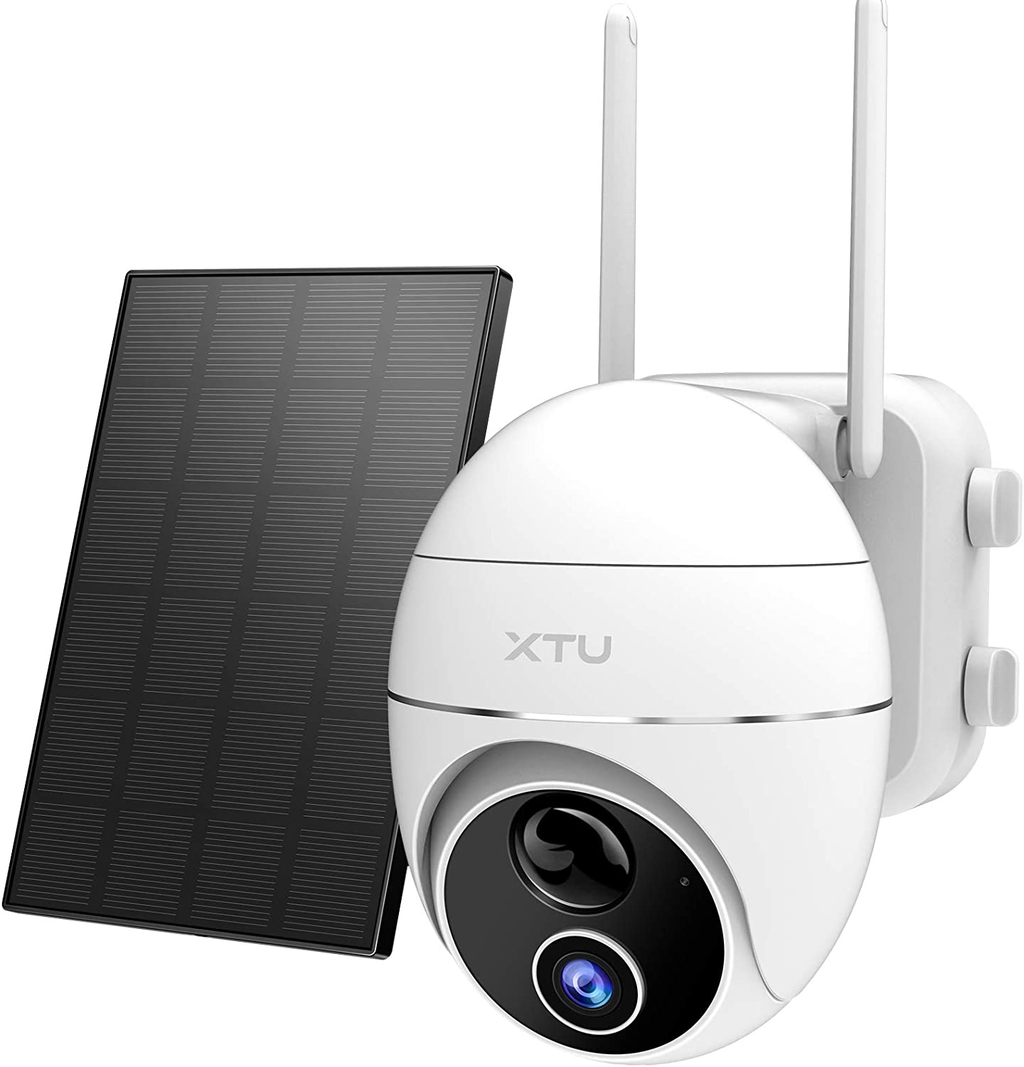 Wireless Outdoor Security Camera, XTU 360° Pan Tilt Solar Powered 2.4G WiFi Home Security Camera with Mobile App, 15000mAh Rechargeable Battery Surveillance Camera with Night Vision/Motion Detection