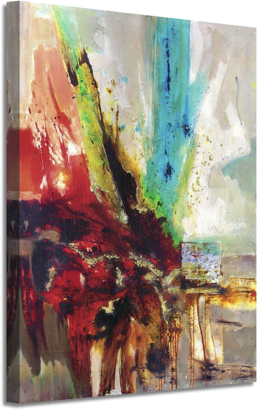Abstract Picture Canvas Wall Art: Colorful Artwork with Gold Foil Painting Print on Canvas for Office or Living Room (24'' x 18'' x 1 Panel)