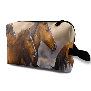 97629b35bcae Amazon.com : Receive Bag Custom Herd Of Horses Makeup Pouch ...