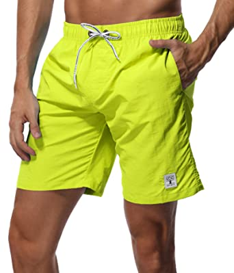 bc486d00c2 SHEKINI Men's Swim Trunks Short Quick Dry Slim fit Lightweight (Fluorescent  Yellow - No Mesh