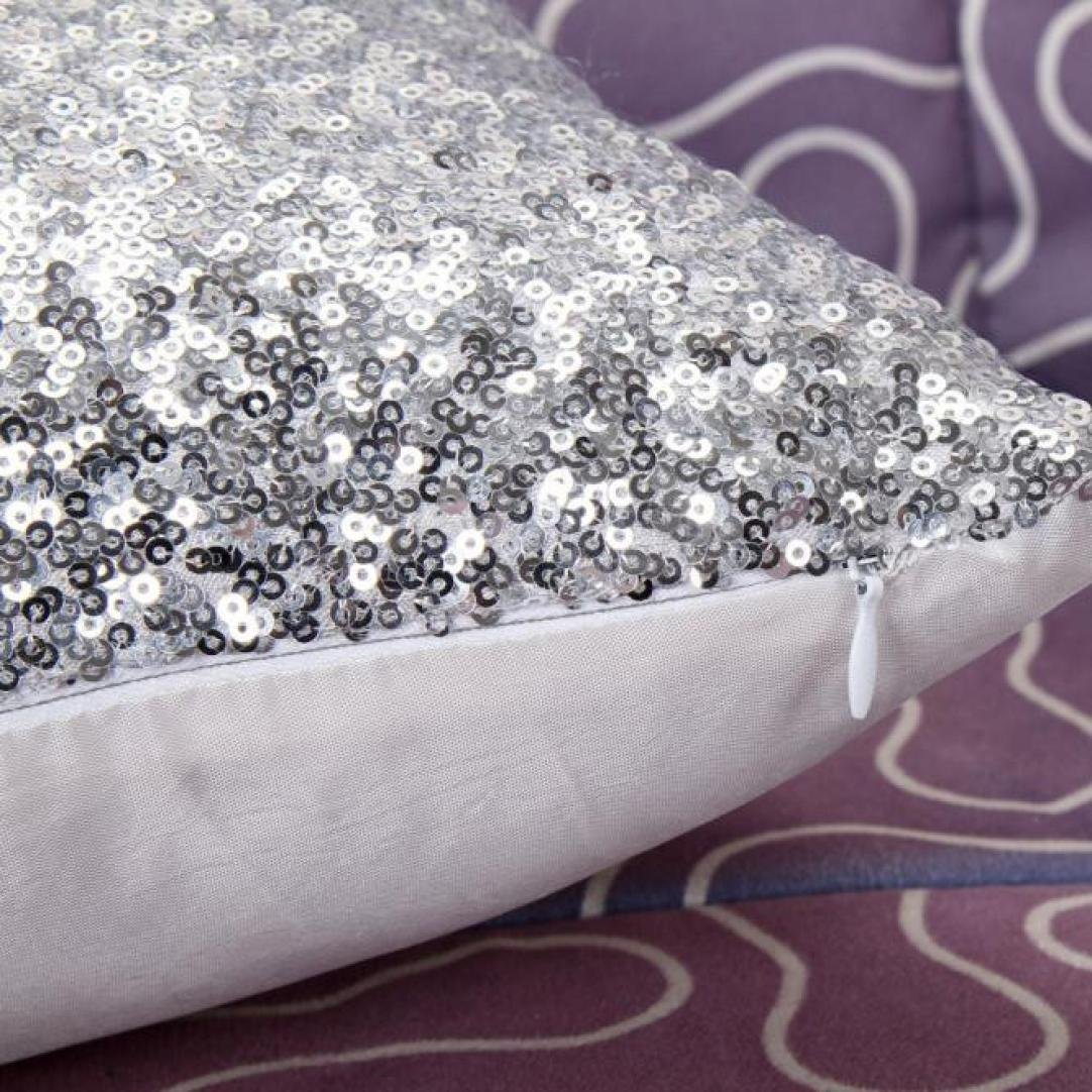 Woaills 16 x 16 Throw Pillow Case, Glitter Sequins Cushion Cover for Home Sofa Decor (Silver) by Woaills (Image #2)