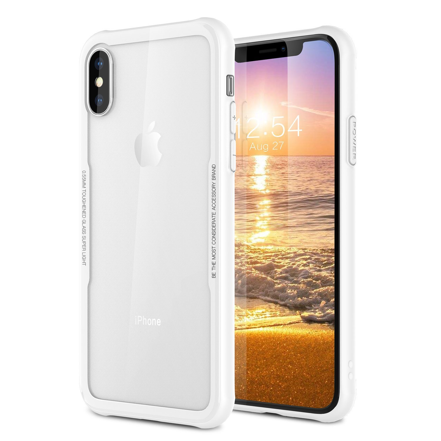 iPhone X Tempered Glass Phone Case,Soft Grip Matte Finish TPU +0.55mm Tempered Glass Hard Back Panel Hybrid Ultra-Thin [ Slim Fit ] Protect Cover Shock Absorption Back-Transparent for iPhone 10 / X