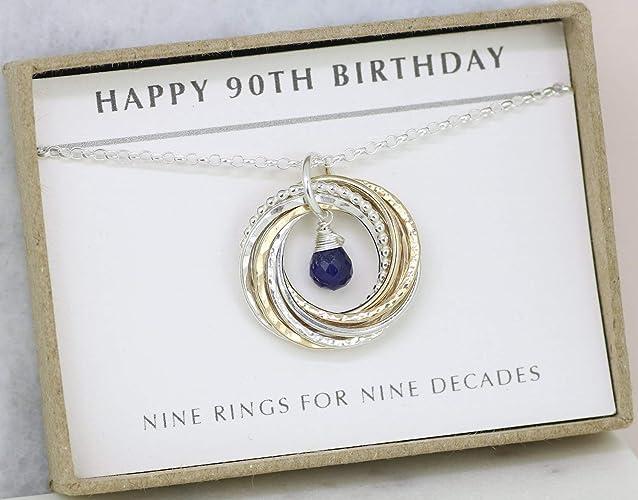 90th Birthday Gift September Grandma Mom Sapphire Necklace