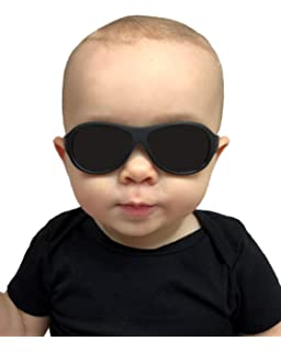 86079ce28997 Babyfied Apparel Baby Wayfarer Sunglasses Black w/Strap 0-2 Yrs ...