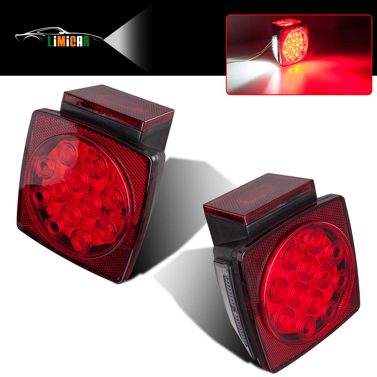 LIMICAR 12V Submersible LED Trailer Light Kit Red White LED Stop Turn Tail License Brake Running Lights for Under 80 Inch Boat Trailer Truck Camper Snowmobile Waterproof (2PCS) by LIMICAR