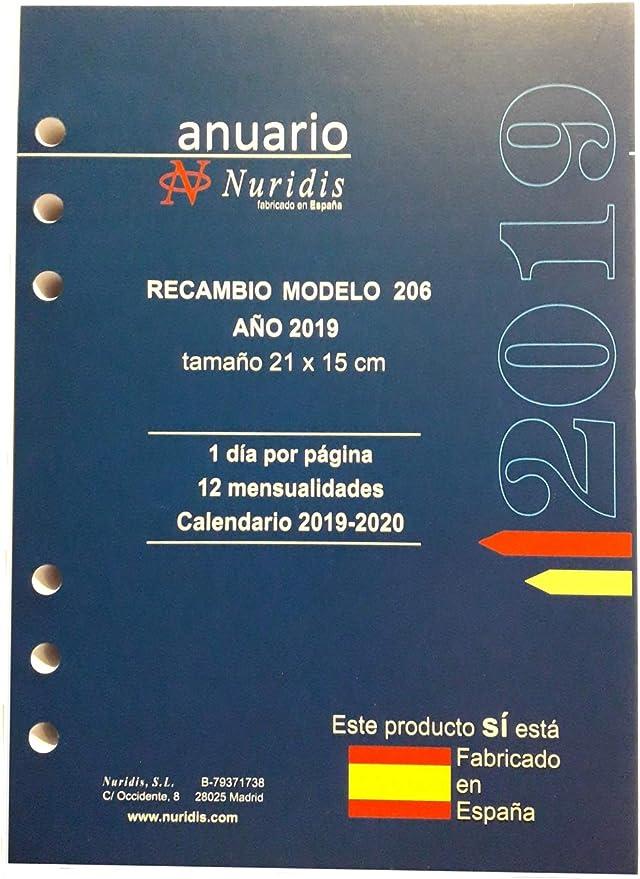 Recambio de agenda español, año 2019, 1 día por página, 21x15 cm.: Amazon.es: Oficina y papelería