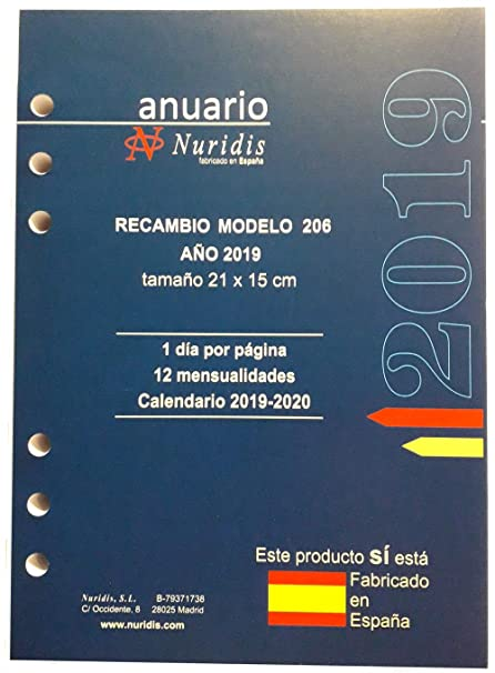 Recambio de agenda español, año 2019, 1 día por página ...