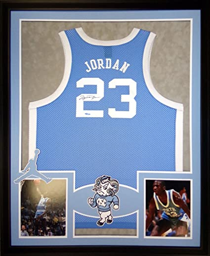 75994f33022f Image Unavailable. Image not available for. Color  Michael Jordan North  Carolina Tar Heels Autograph Signed Custom Framed Jersey Blue UDA Upper Deck  ...