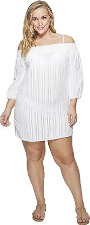 5f2eb74fcb Lauren Ralph Lauren Women's Plus Size Dobby Smocked Off The Shoulder Tunic  Cover-Up White