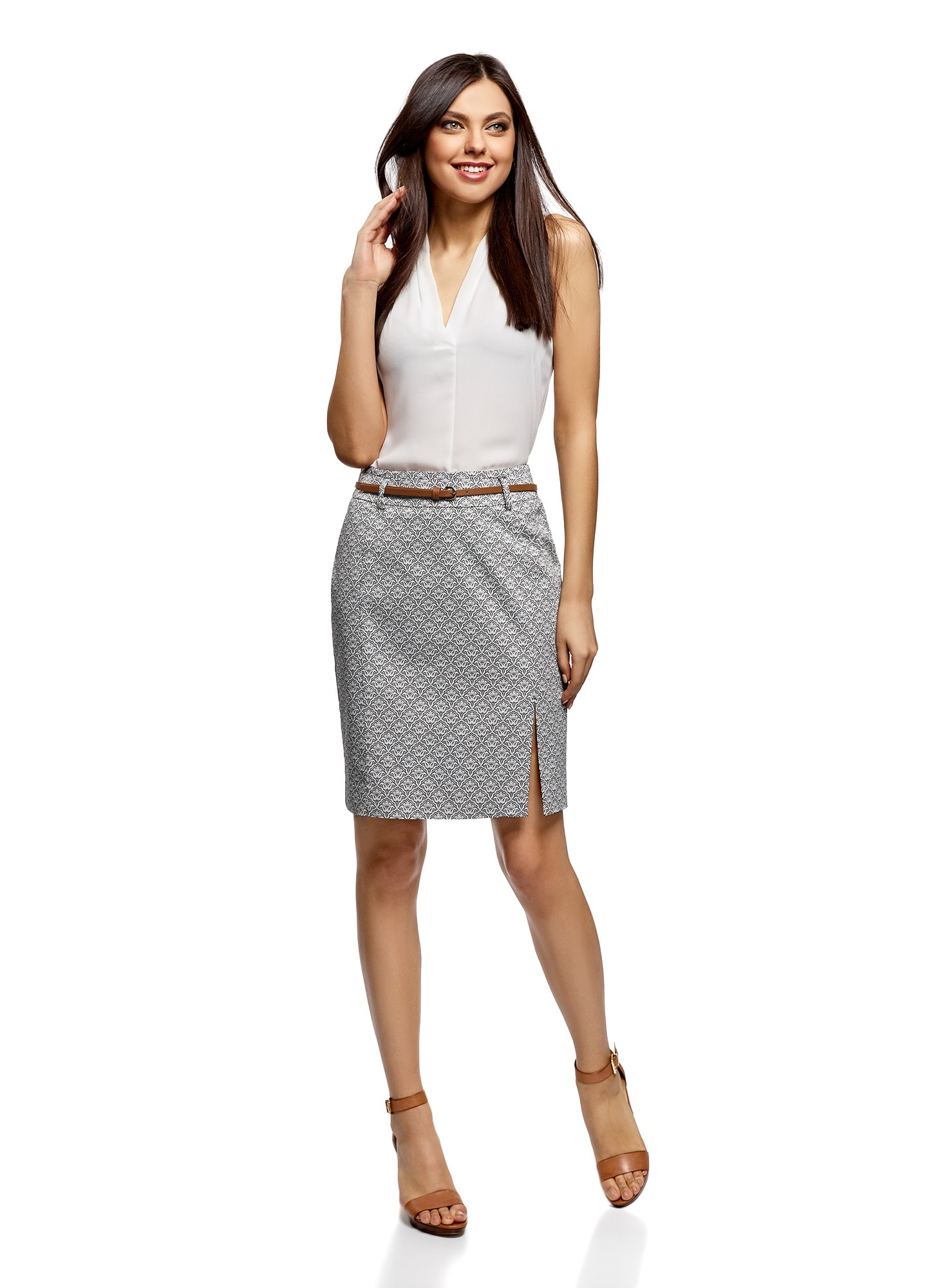 oodji Collection Women's Straight Belted Skirt, Grey, 8 by oodji (Image #6)