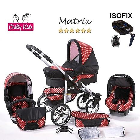 Chilly Kids Matrix 2 cochecito Set – Año (saco, sombrilla, asiento auto & Isofix, la lluvia, mosquitera, ruedas pivotantes) multicolor 45 noir & rouge