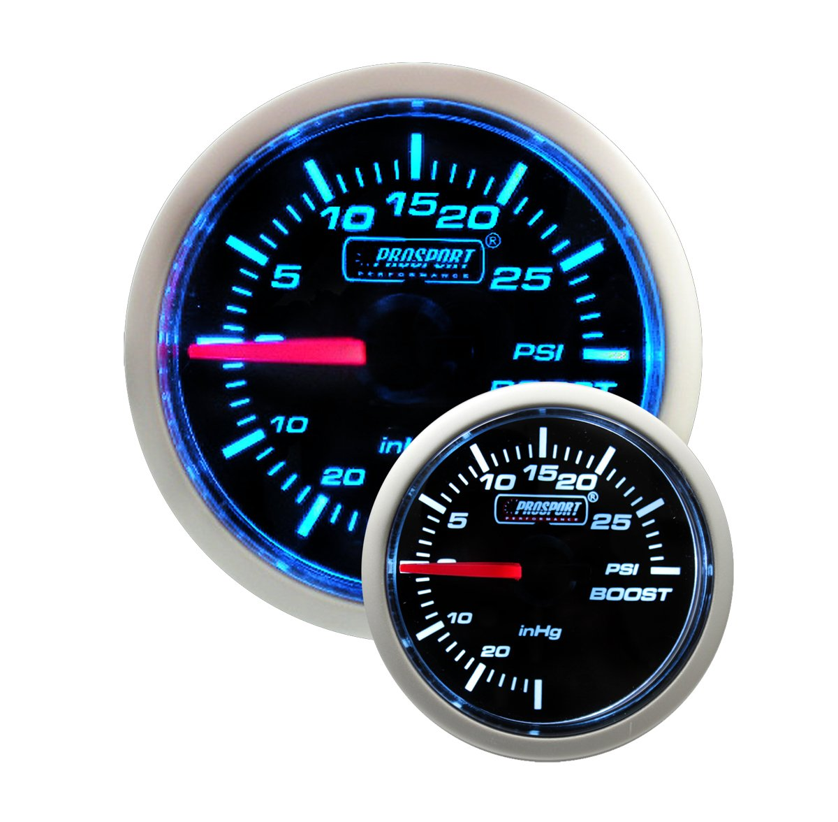 Electric Boost Gauge- Blue/white Performance Series 52mm (2 1/16'') by Prosport Gauges