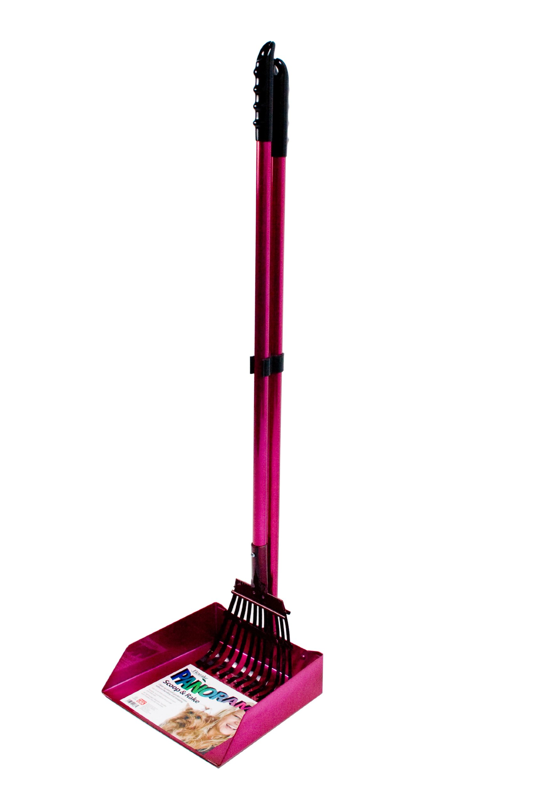 Flexrake 68AR Raspberry Panorama Large Dog Scoop and Rake Set with 3-Foot Aluminum Handle
