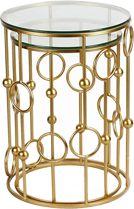 Gold Two Piece Set Golden Adeco 2016 New Home Garden Patio Accent Metal Nesting Postmodernism Side End Tea Coffee Tables