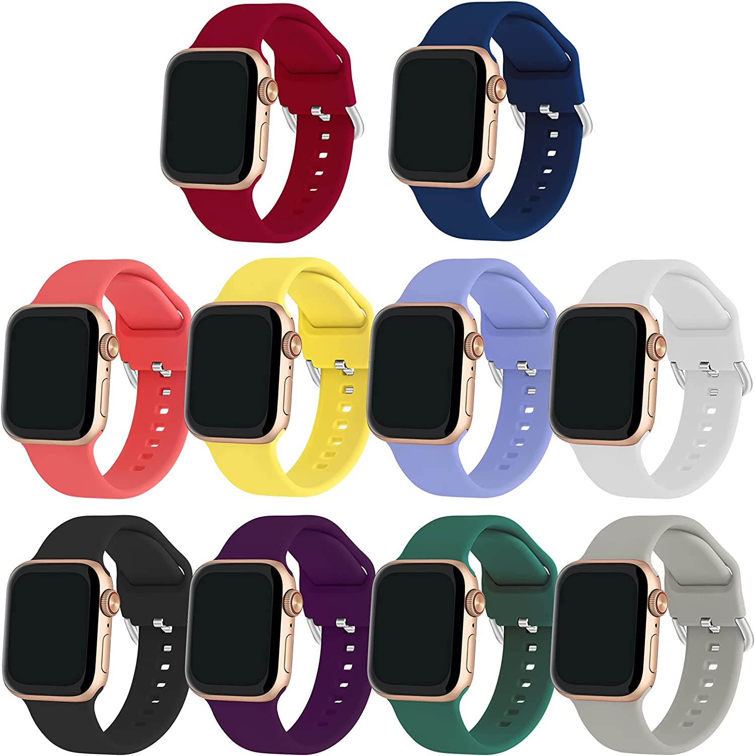 SolorSubring Compatible with Apple Watch Bands 38mm 40mm 42mm 44mm Women Men,10-Pack Durable Silicone Replacement Strap for iWatch Series 6/SE/5/4/3/2/1 with Silver Buckle