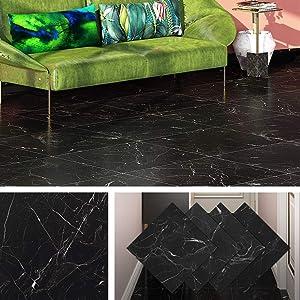 Livelynine Peel and Stick Floor Tile Adhesive Vinyl Flooring Black Marble Tile Sticker Waterproof Flooring for Rentals Home Kitchen Bedroom Bathroom 12x12 Inch 4 Pack