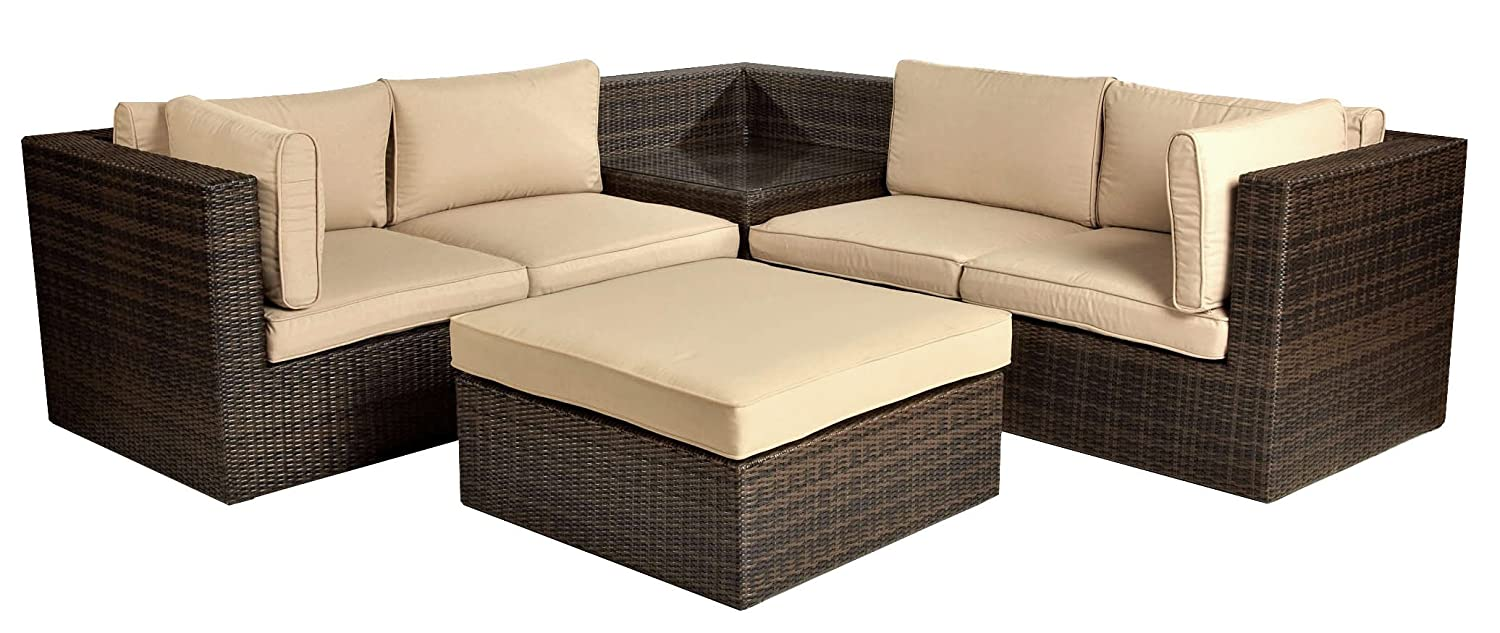 Amazon.com: Leisuregrow Madrid Modular Rattan Garden Sofa ...