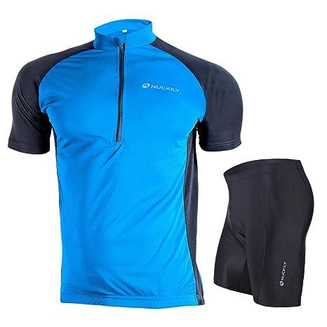 Nuckily Men s Summer Classic Lightweight Short Sleeve Cycling Jersey and 3D  Gel Pad Short Set Blue 88c47e123