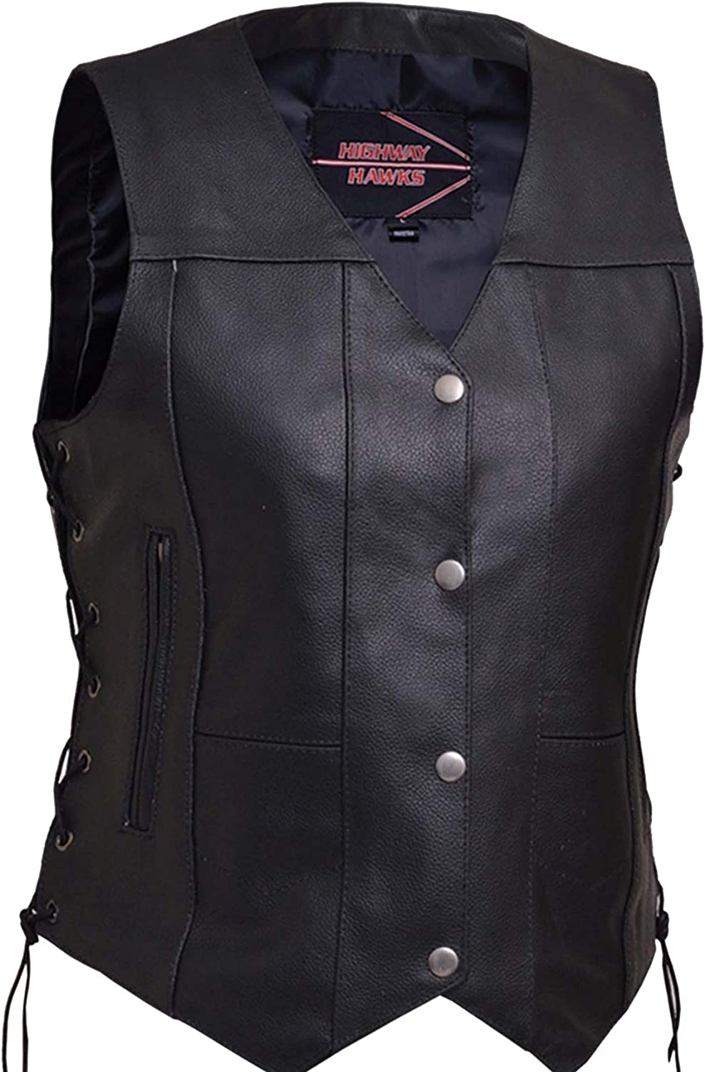 Womens Leather Motorcycle Vest With Concealed Carry Pockets and Side Laces