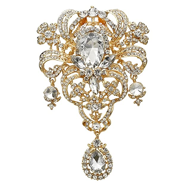 Vintage Style Jewelry, Retro Jewelry EVER FAITH Austrian Crystal Flower Bouquet Tear Drop Pendant Brooch $18.99 AT vintagedancer.com
