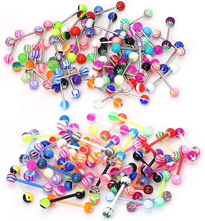 5X Lots Mixed Logo Ball Tongue Bars Rings Barbells Piercings  Stainless Steel HR