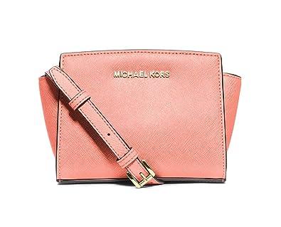 8ed962afdf29 Amazon.com  Michael Michael Kors Selma Saffiano Leather Mini Messenger Bag  in Pale Pink  Shoes