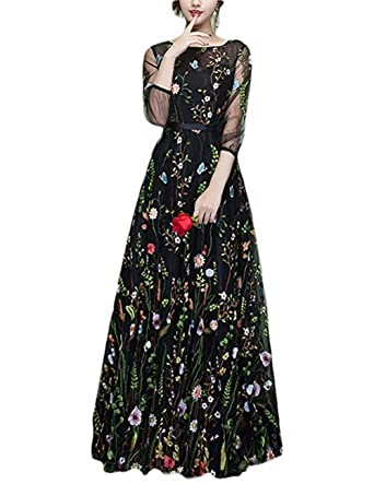 8a9bec3c3a Ethel Women s Zipper Back Floral Embroidery Long Sleeves Evening Dresses  (2