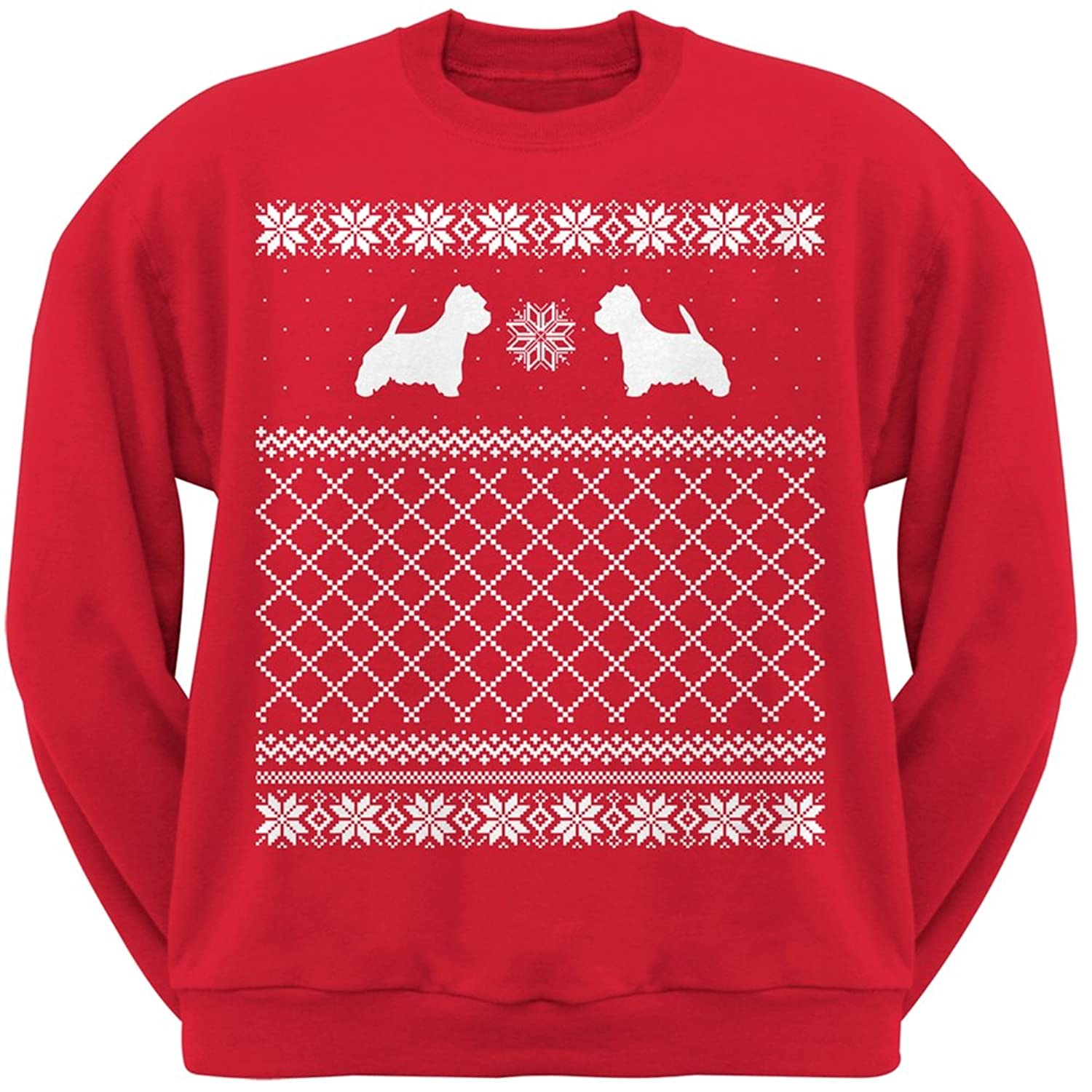 Amazon.com: Westie Red Adult Ugly Christmas Sweater Crew Neck ...