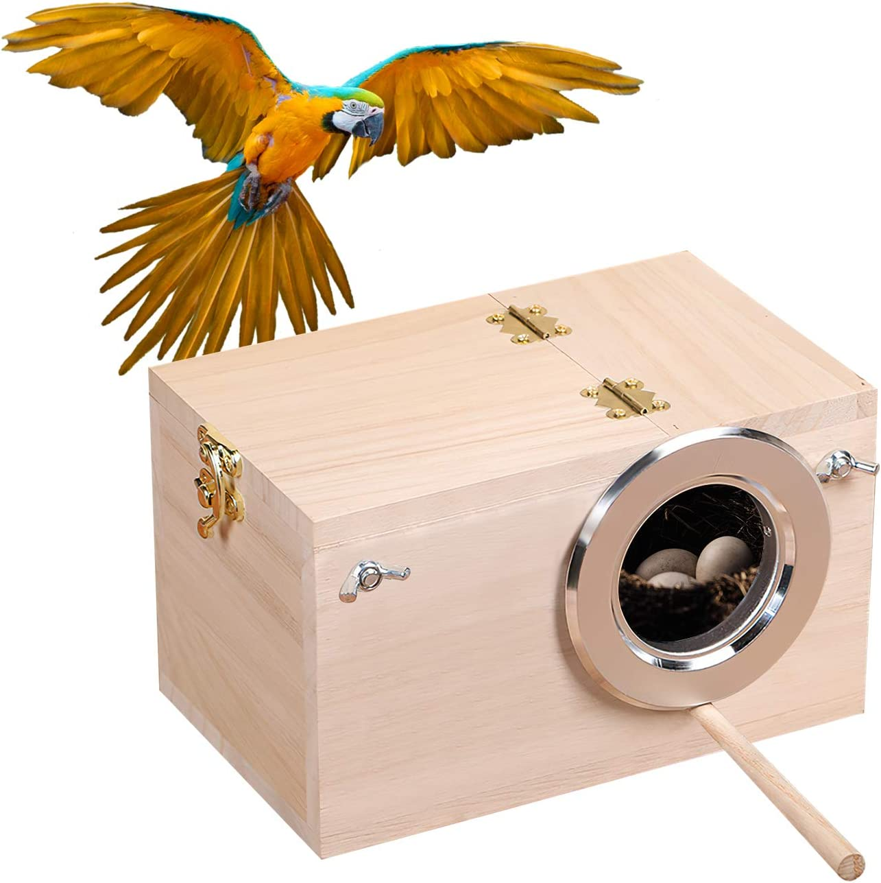 CROWNY Parakeet Nest Box Bird House Wood Breeding Box for Lovebirds, Parrotlets Mating Box
