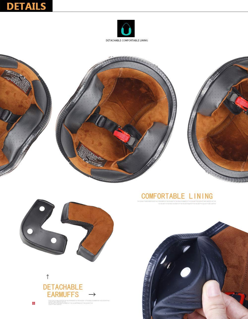 ZHYWJ Creative Retro Synthetic Half Helm Vintage Crash Modularer Helm für Erwachsene Männer/Frauen in mittlerer Größe