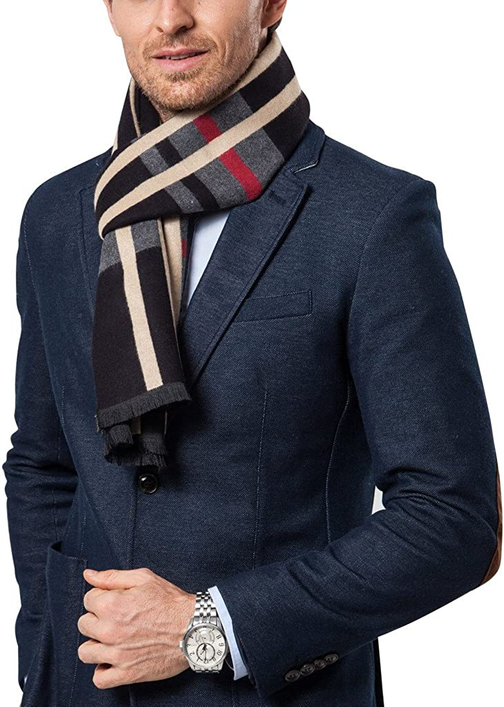 Shubb Mens Fashion Scarves for Winter Cashmere Feel Scarf for Men 70.8 11.8  IN Accessories Men