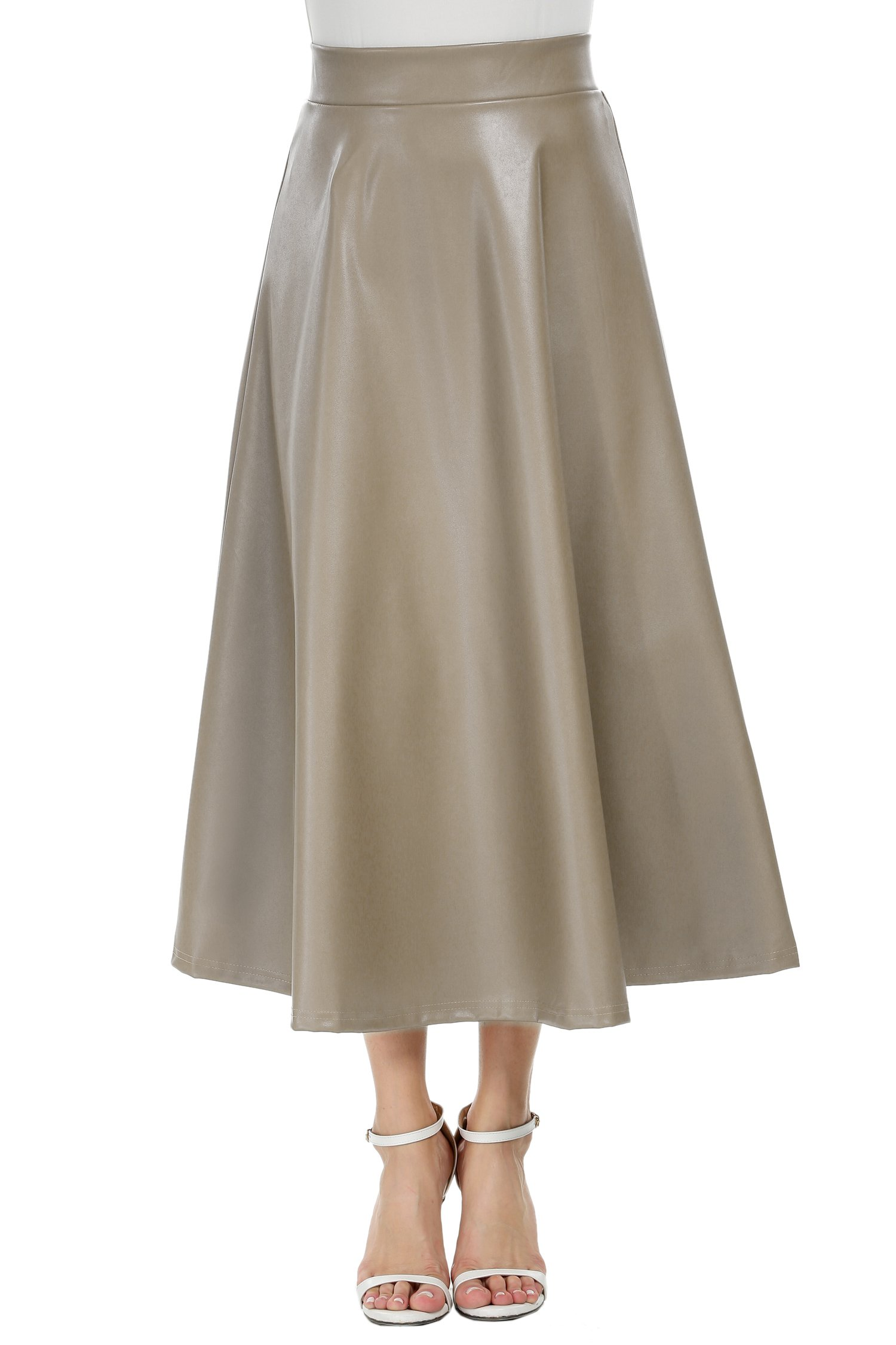 Zeagoo Women's PU Faux Leather High Waist Long Swing Skirt Khaki XXL