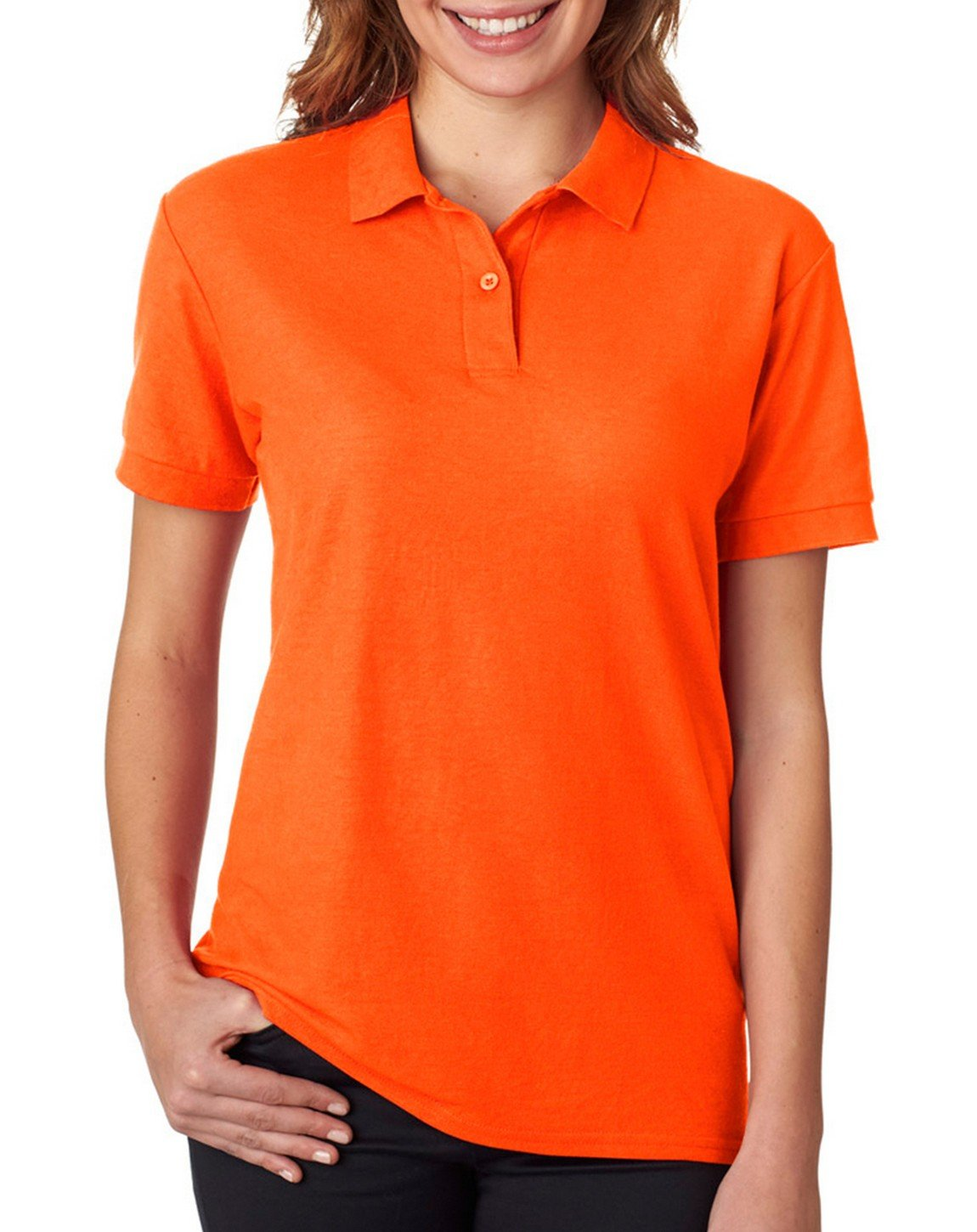 Gildan - Ladies DryBlend Double Pique Polo Shirt - 72800L-Safety Orange-M