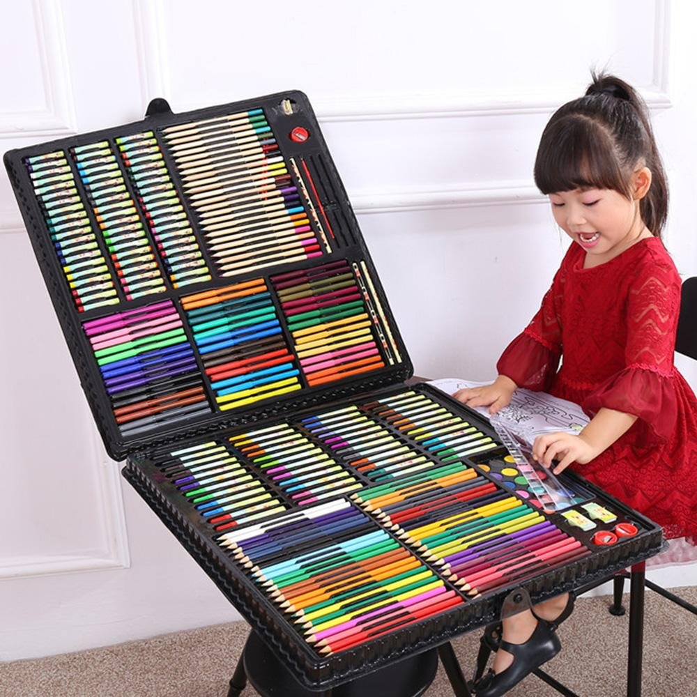 LLZJ Art Drawing Sets Children 288 Pcs Student School Coloured Design Brush Gifts Professional Supplies Stationery Creative Pencils Painting Kids Watercolor Pen, black by LLZJ (Image #5)