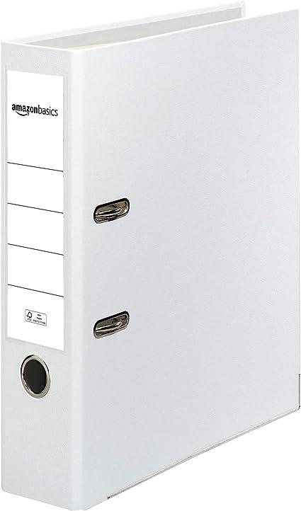 Oferta amazon: AmazonBasics - Archivador de palanca, cubierta de PP, lomo con bolsillo, Certificación FSC, A4, lomo de 80 mm de ancho, paquete de 10, blanco