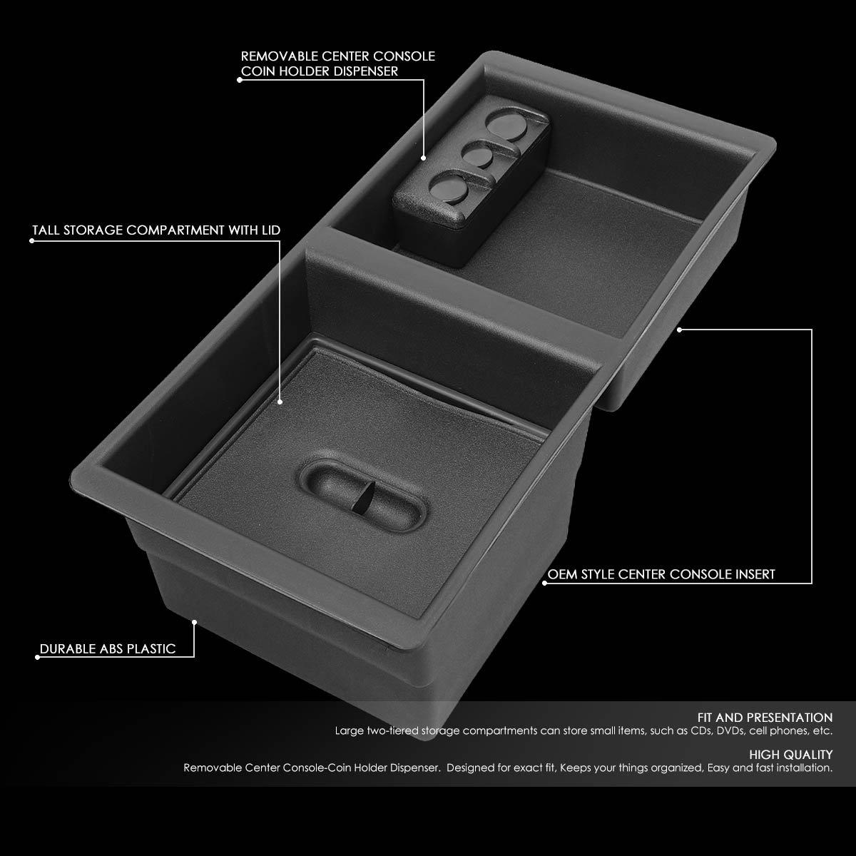 DNA MOTORING Cecon-GM Center Console Organizer Insert Tray for 14-18 Silverado//Sierra