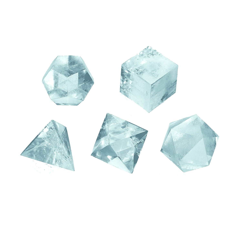 Maulwurf - Geschenke aus der Natur 0503509121 Set platonische Körper Bergkristall groß, in Schachtel