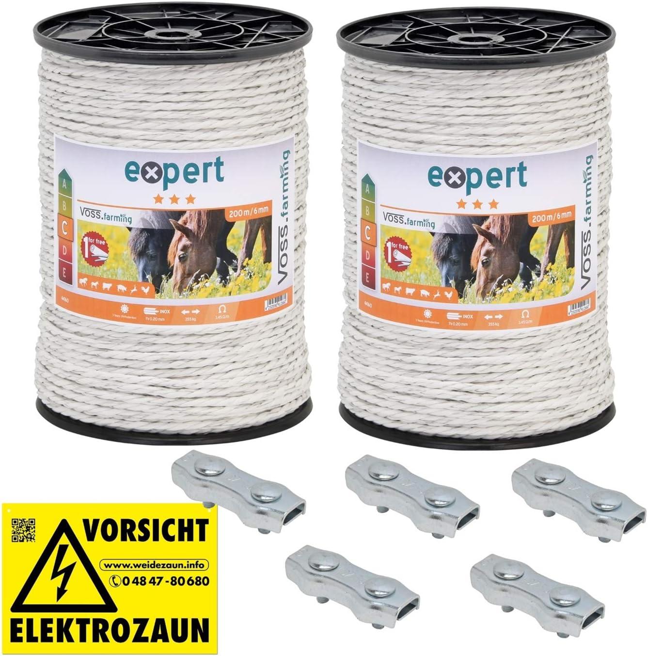 200m Weidezaunseil Elektroseil weiß Ø6mm 6x0,4 Niro Elektrozaun Pferdezaun Litze