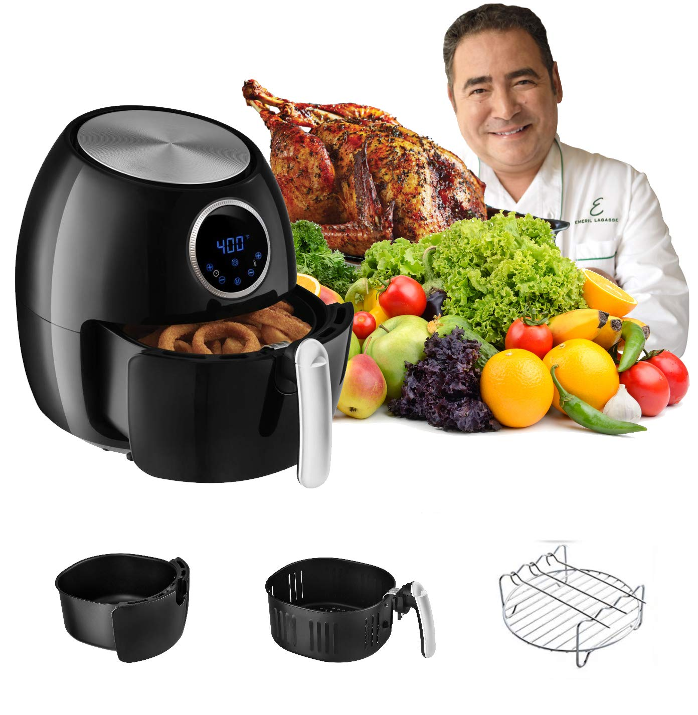 Emeril Lagasse 5.3 QT XL Digital Hot Air Fryer w/Rack, Skewers, Recipe Cards | (5.3 qt.) Oil Less Electric Food Cooker | 7 Pre-Programmed Cook Settings | Removable Basket by Emeril Lagasse (Image #3)