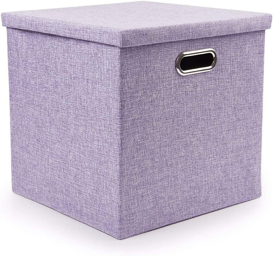 Collapsible Storage Cubes Organizer with Lid Cube Storage Bins 13×13 Fabric Cloth Fodable Storage Boxes for Shelf, Car Trunk, Office, Kids Toys, Living Supplies … (Purple, 1)