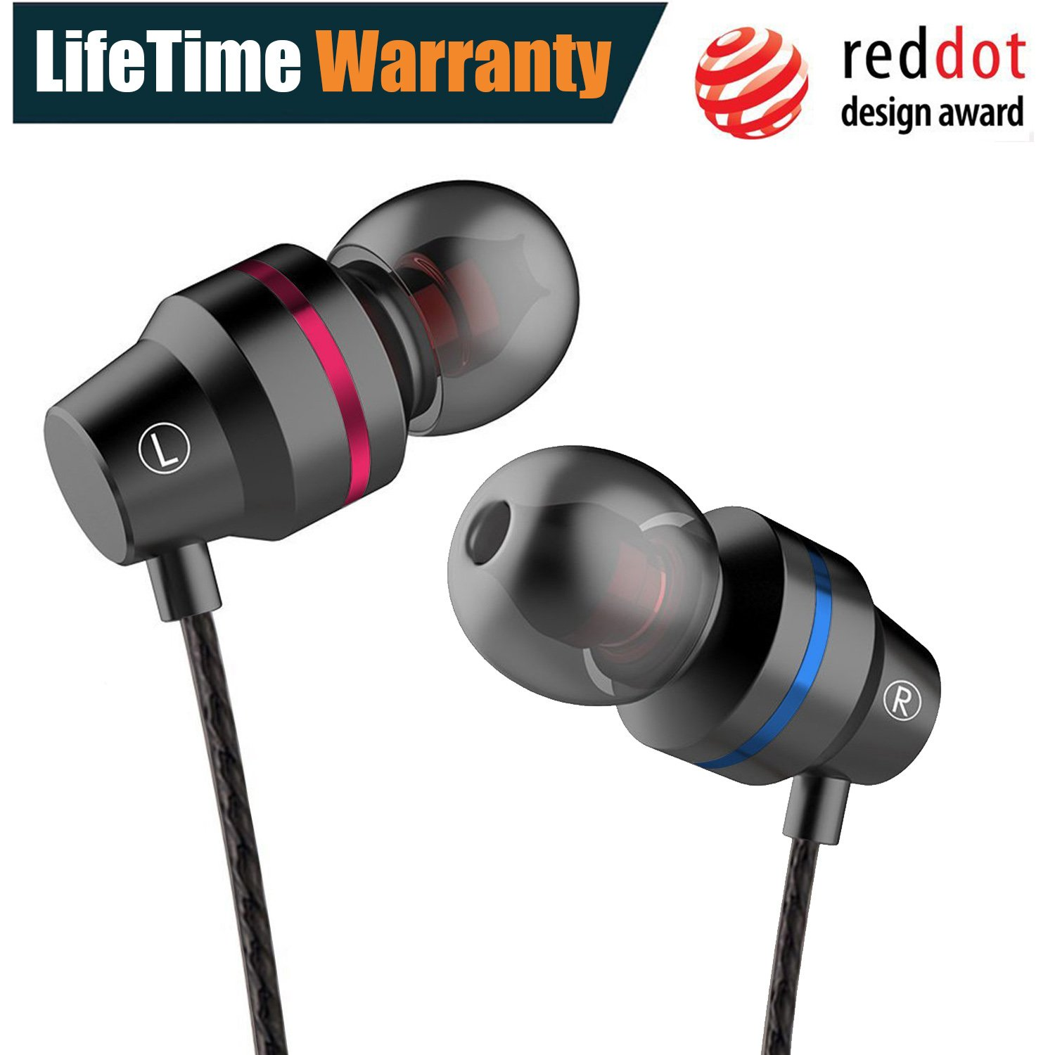 Earphones In Ear Headphones Earbuds with Microphone Mic Stereo and Volume Control Waterproof Wired Earphone For iPhone Samsung Android Mp3 Players Tablet Laptop 3.5mm Audio Black by KURSO