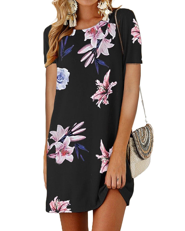 Bblack 1 SUNNYME Women's Floral Mini T Shirt Dresses Short Sleeve Casual Crew Neck Swing Tunics