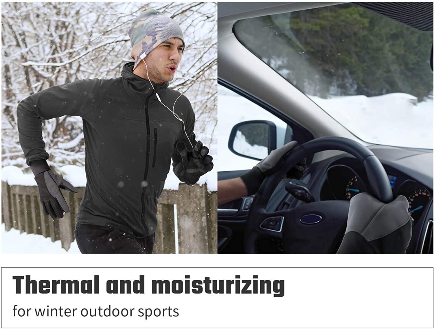 Windproof Water Resistant for Driving//Cycling//Running//Snow Skiing in Cold Weather for Women and Men Black-Gray,X-Large Cold Weather Gloves with Touch Screen Fingers Winter Thermal Glove