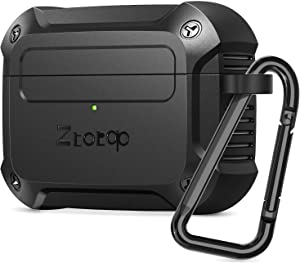 Ztotop Case for AirPods Pro 2019, Designed with Full Tough Silicone+Shock-Resistant Protective Cover, Front LED Visible, Durable Armor Case with Smooth Skin - Black