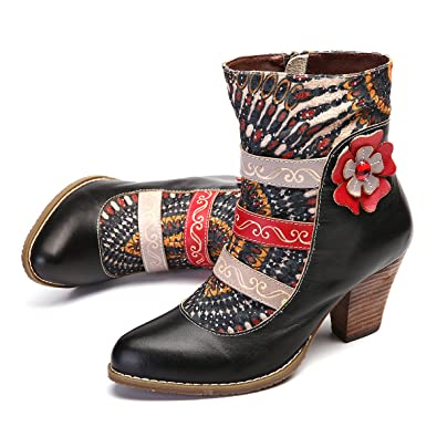 dee76871f7b8 gracosy Women s Leather Ankle Boots Block Mid High Heel Ladies Casual  Comfort Pointed Toe Boots Party Wedding Shoes Handmade Bohemian Splicing  Pattern 2018 ...